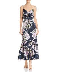 JILL Jill Stuart Floral-print Sleeveless Midi Dress With Ruffle Trim - Blue
