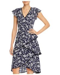 Adrianna Papell Floral Print Tiered Dress - Blue