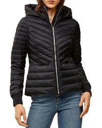 SOIA & KYO Chalee Lightweight Hooded Puffer Jacket - Black