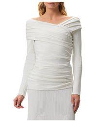 Hervé Léger Couture Draped Off - The - Shoulder Top - Grey