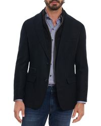 Robert Graham Downhill Xiv Layered Look Tailored Fit Sport Coat - Black
