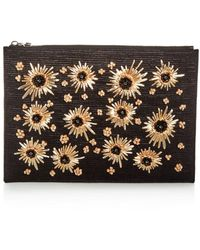Max Mara Floral Embellished Raffia Large Zip Clutch - Multicolour