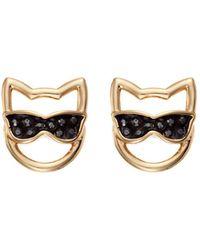 Karl Lagerfeld Choupette In Sunglasses Stud Earrings - Metallic