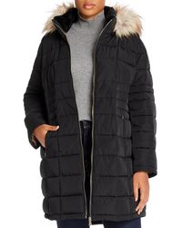 Calvin Klein Faux - Fur Trimmed Puffer Coat - Black