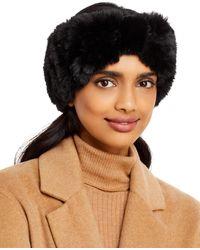 Surell Faux Fur Stretch Knit Headband - Black