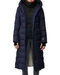 SOIA & KYO Talyse Hooded Down Puffer Coat - Blue