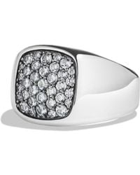 David Yurman - Pavé Signet Ring With Gray Sapphire In Silver - Lyst