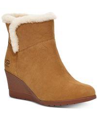 UGG Devorah Sheepskin-lined Suede Wedge Boots - Brown