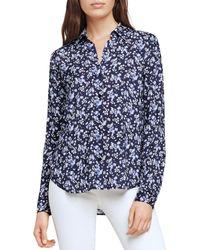 L'Agence Holly Floral Print Shirt - Blue