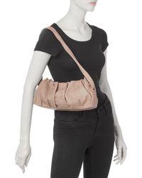 Elleme Vague Pleated Leather Convertible Shoulder Bag - Brown