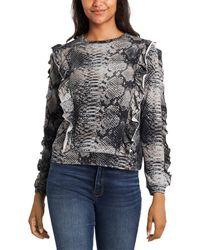 1.STATE Ruffled Snake Print Sweatshirt - Grey