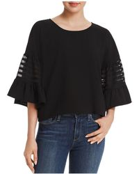 Aqua - Embroidered-inset Bell Sleeve Top - Lyst