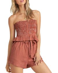 Billabong Well - Grounded Smocked Strapless Top - Multicolour