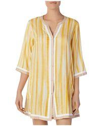 Donna Karan - Striped Short Sleepshirt - Lyst