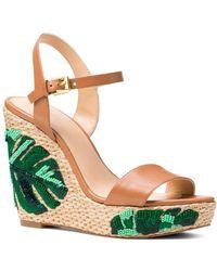 effc599f744 MICHAEL Michael Kors - Women s Jill Beaded Leather Platform Wedge Sandals -  Lyst