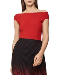 Reiss Zena Off Shoulder Top - Red
