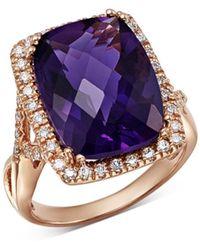 Bloomingdale's Amethyst Cushion & Diamond Statement Ring In 14k Rose Gold - Metallic