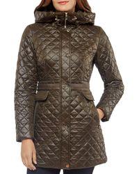 Kate Spade Hooded Quilted Jacket - Brown