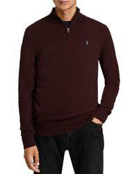 AllSaints Kilburn Quarter Zip Sweater - Red