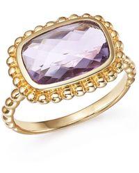 Bloomingdale's - Rose Amethyst Beaded Ring In 14k Yellow Gold - Lyst