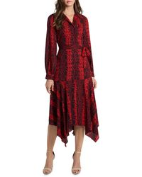 Vince Camuto Asymmetric Snake Print Shirt Dress - Red