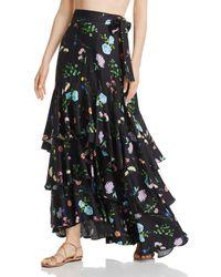 Paper London Fresa Floral Print Midi-skirt - Black