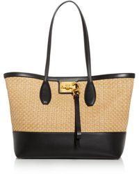 Ferragamo Small Studio Woven Straw Tote - Natural