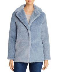 T Tahari Faux Fur Teddy Coat - Blue