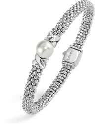 Lagos - Luna Sterling Silver Caviar Bracelet With Pearl - Lyst