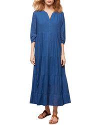 Gerard Darel Seville Smocked Midi Dress - Blue