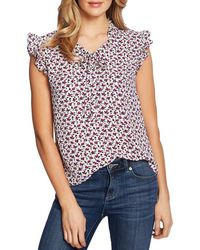 Cece By Cynthia Steffe Ditsy Floral Ruffle Top - Multicolour