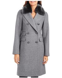 Vince Camuto Faux Fur Trim Double - Breasted Coat - Grey