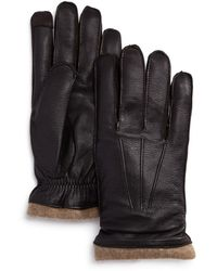 Bloomingdale's Knit - Cuff Leather Tech Gloves - Brown