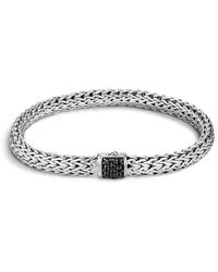John Hardy - Classic Chain Sterling Silver Lava Small Bracelet With Black Sapphire - Lyst