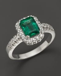Bloomingdale's Emerald And Diamond Ring In 14k White Gold - Metallic
