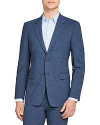 Theory Chambers Micro Houndstooth Slim Fit Suit Jacket - Blue