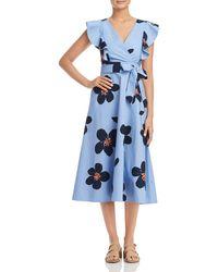 Kate Spade - Grand Flora Poplin Midi Dress - Lyst