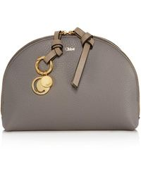 Chloé Alphabet Leather Cosmetic Case - Gray