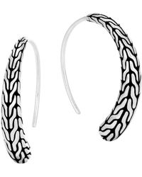 John Hardy - Sterling Silver Classic Chain Silver Small Sweep Earrings - Lyst