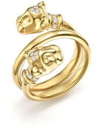 Temple St. Clair - 18k Yellow Gold Double Wrap Lion Cub Diamond Ring - Lyst