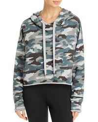 Aqua Athletic Camo Cropped Hooded Sweatshirt - Green
