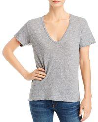 Monrow Short Sleeve V - Neck Tee - Grey