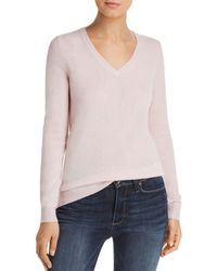 C By Bloomingdale's V - Neck Cashmere Jumper - Pink