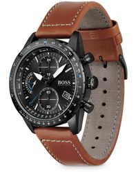 BOSS by Hugo Boss - Chronograph Pilot Brown Leather Strap Watch 44mm - Lyst