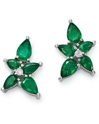 Bloomingdale's - Emerald & Diamond Flower Stud Earrings In 14k White Gold - Lyst