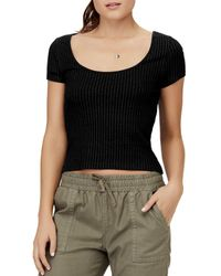 David Lerner Kristin Wide Scoop-neck Cap-sleeve Top - Black