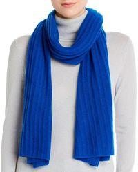 Aqua Cashmere Rib - Knit Cashmere Scarf - Blue
