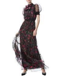 Alice + Olivia Coletta Floral Tulle Gown - Black