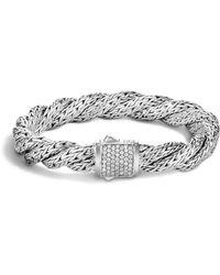 John Hardy Classic Chain Sterling Silver Medium Flat Twisted Chain Bracelet With Diamond Pavé - White
