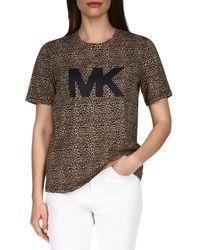 MICHAEL Michael Kors Cheetah Print Logo Tee - Multicolour